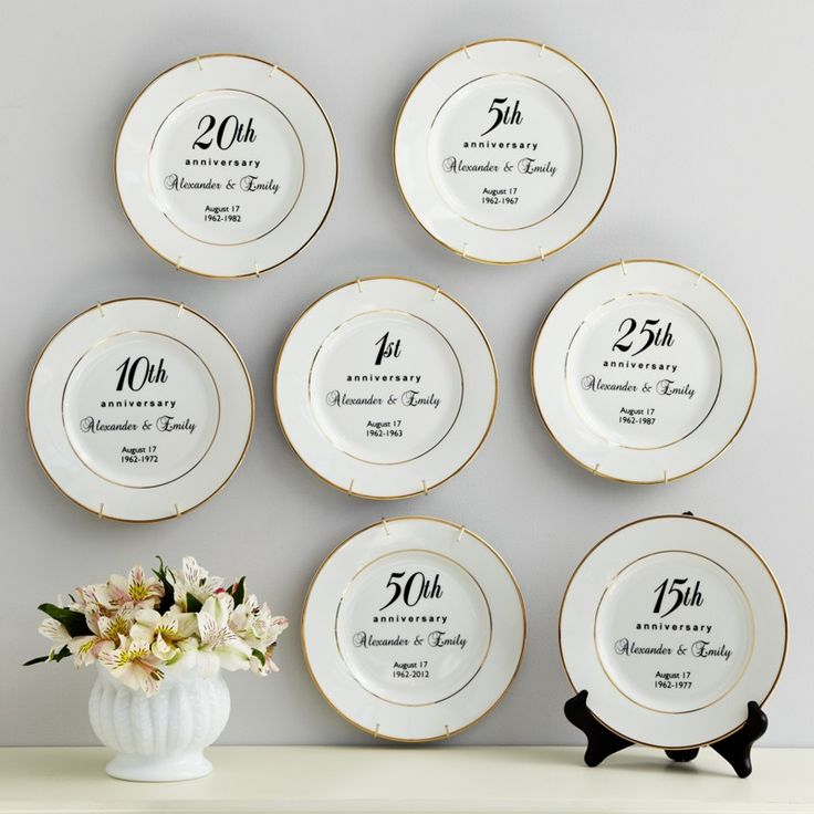 Anniversary Plate - Porcelain anniversary plate features elegant 24K gold trim. We personalize it with the number of years celebrating, their first names, wedding date, wedding year, and anniversary year.