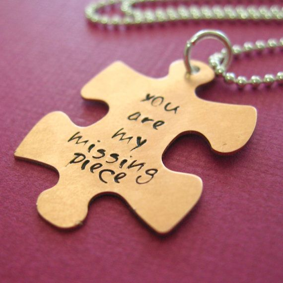 My Missing Piece Necklace - hand stamped Puzze Piece in nickel silver, copper or brass