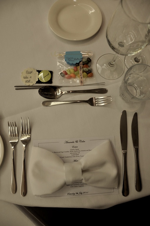Table settings at mine and Colin's wedding.