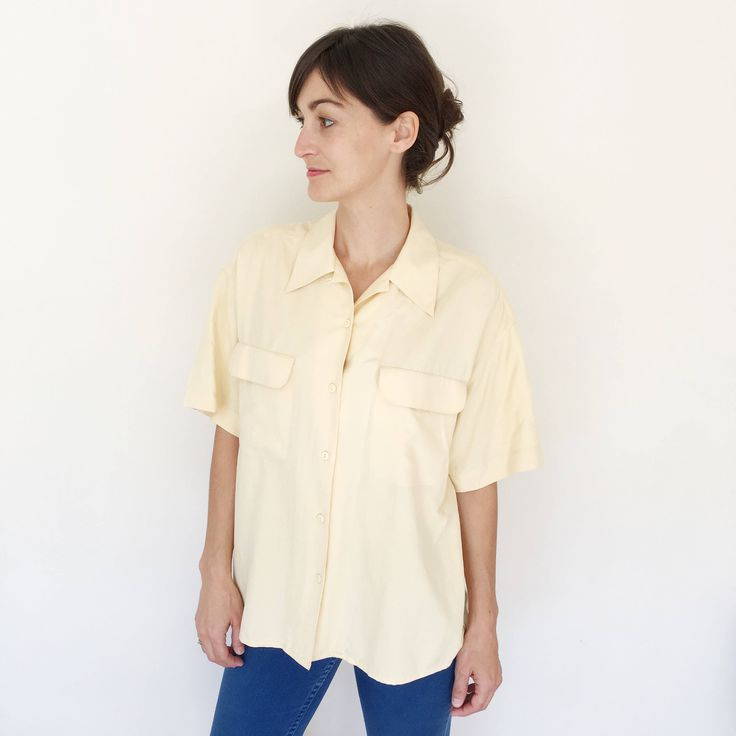 Excited to share the latest addition to my #etsy shop: Yellow Silk Blouse/ Silk Blouse Large/ Button Down Silk Blouse/ Oversized Silk Top/ Minimalist Silk Blouse