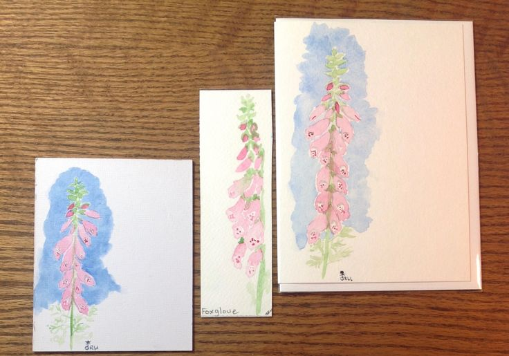Christmas Gift, Gift for Her, Coworker Gift, Stocking Stuffer,Original Watercolor, Greeting Card, Bookmark, Gifts under 20 Dollars, Foxglove by FreeFlowingPaint on Etsy