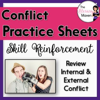 These three handouts allow students to practice categorizing a conflict as internal or external and identifying the specific type of conflict: person versus self, person versus person, person versus nature, or person versus society. Each handout reviews the definition and different types of internal and external conflict and provides five practice scenarios.