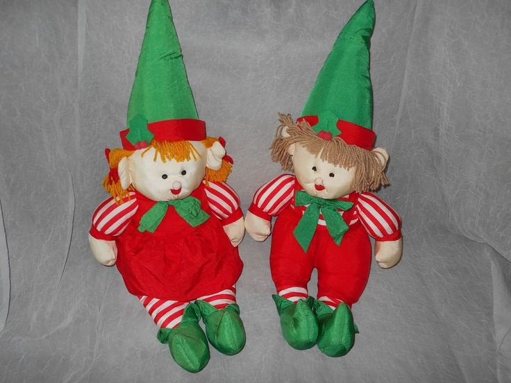 VINTAGE GIRL AND BOY CHRISTMAS ELF ELVES NYLON PARACHUTE FABRIC PLUSH SET-RARE #JSINTERNATIONAL