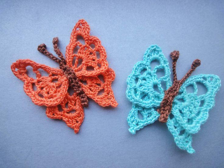Pretty crochet butterfly,  Crochê bordeletas