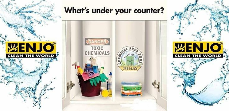 Take a look in the cupboard under your kitchen sink and bathroom vanity... Is it a chemical cocktail of pretty bottles and potions that claim to clean? What if you could replace the toxins with just a few ENJO superior microfibres and just use plain old tap water... Save money, time, effort, the environment and your family's health! Would you give it a try?