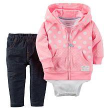 Carters Girls 3 Piece Pink/White Polka Dot Zip Up Hooded Cardigan, Bodysuit and Faux Denim Knit Pant Set