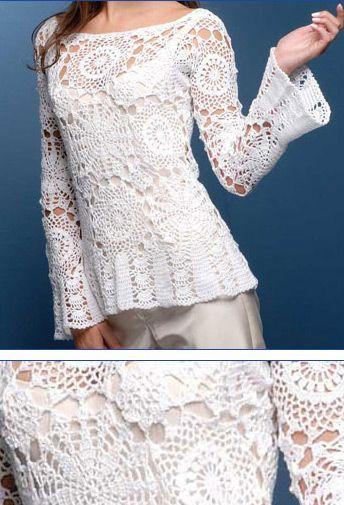 Crochet Top, with full pattern.  http://mirincondecrochet.wordpress.com/2011/05/02/blusa-blanca/