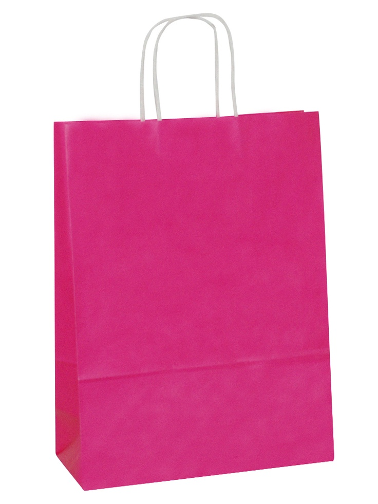 White Carrier Bag Twisted Handle - Solid Hot Pink