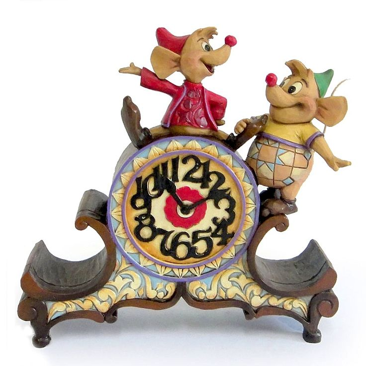 """Jaq & Gus know what time it is - time to help Cinderelly! """"A STITCH IN TIME"""" - JAQ & GUS CLOCK (Jim Shore Disney Traditions) #Disney #Cinderella #JimShore"""