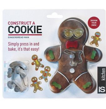 Construct A Cookie Set Roll out the dough, press in the cutters, remove the shapes and bake... it's that easy! Set includes baking and decoration templates to make your gingerbread man simply too hard to resist. Made from tin plate steel.