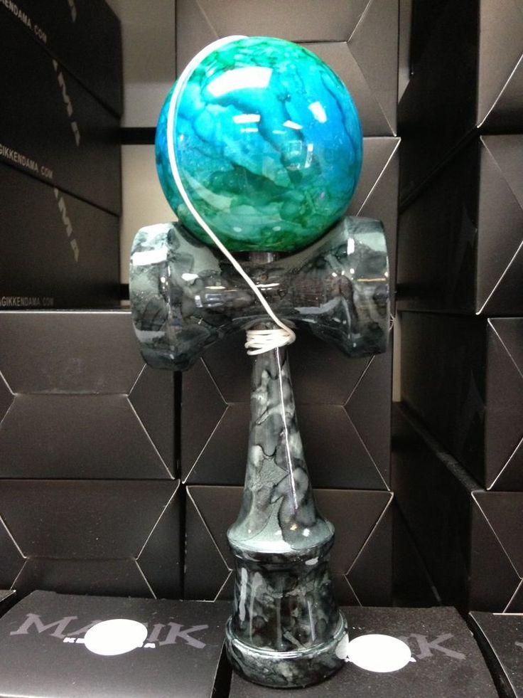 ULTRA PREMIUM Kendama GRN/BLU/GRN MARBLE BALL+ BLK GRIP! USA Seller,Fast SHIP!