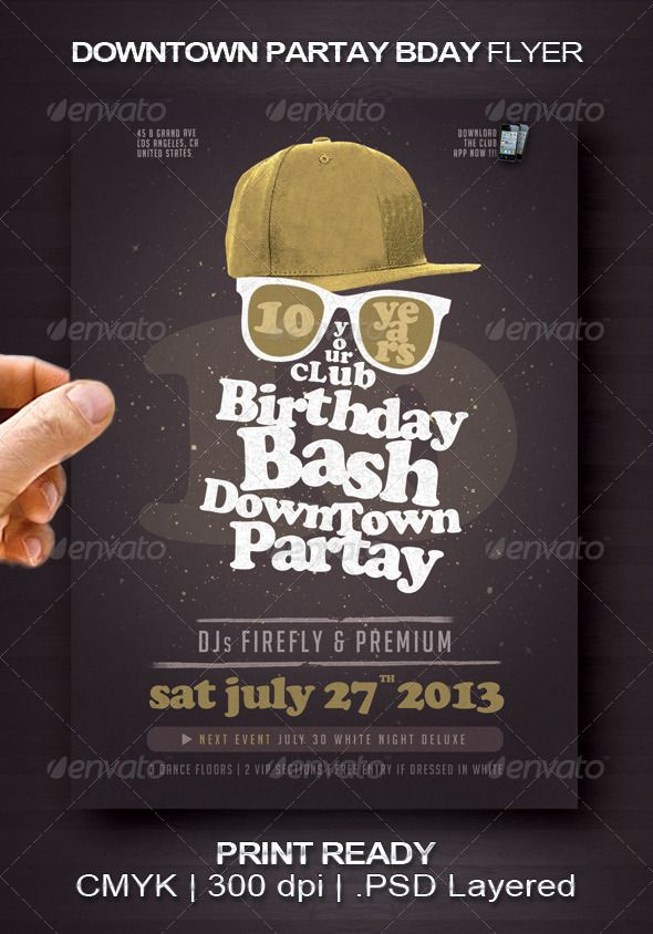 Downtown Partay Bday Flyer  #GraphicRiver         A cool and original flyer design template for your next urban birthday bash party.  	 Flyer size: 10,7×15 cm. (4.21×5.90 inch) Bleeds: 0,1 cm at each border  	 this flyer used :  Cooper Black  .myfonts /fonts/linotype/cooper-black/ Big Noodle Titling  .dafont /bignoodle-titling.font 	 Print Ready: CMYK, 300 DPI .PSD Layered, very easy to modify. Well-assorted in folders.  	 I wish you success!     Created: 4June13 GraphicsFilesIncluded…