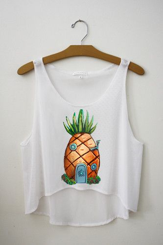 Pineapple Crop Top – Hipster Tops -- i realize this is spongebob and we hate spongebob, but the concept of the giant center image on white shirts is what i'm more concerned about ^_^