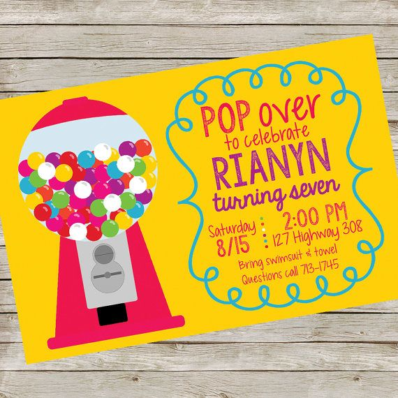 Bubble Gum Invitation PIY file Bubble Gum by wwwmakemydayllccom