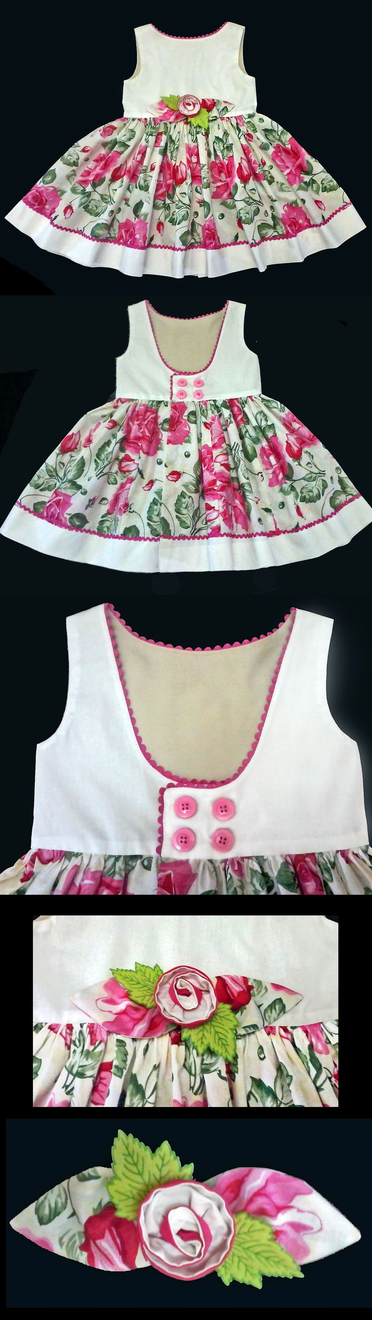 Vestido Infantil Floral - 4 anos . . . . . . . . .  Floral Pink Dress 4 years . . . . . . . . . .  Molde Grátis no Facebook - Free Pattern in Facebook. . . . . . . . . https://www.facebook.com/groups/1594730384185604/