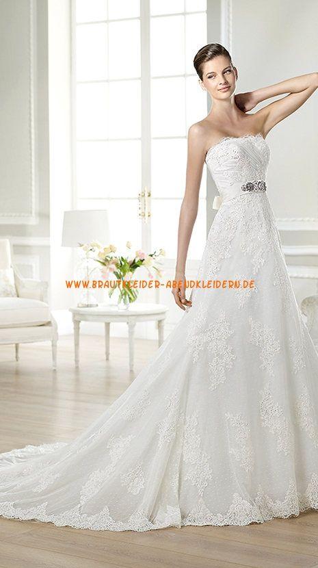 Herz-ausschnitt A-linie Weie Brautkleider 2014 aus Spitze