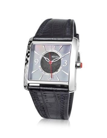 OKI- Stainless Steel Square Watch with Black Leather Strap