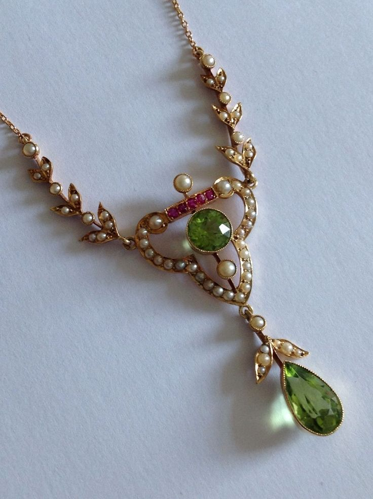 Beautiful Finest Victorian 15ct Gold Peridot, Ruby & Seed Pearl Pendant Necklace | eBay