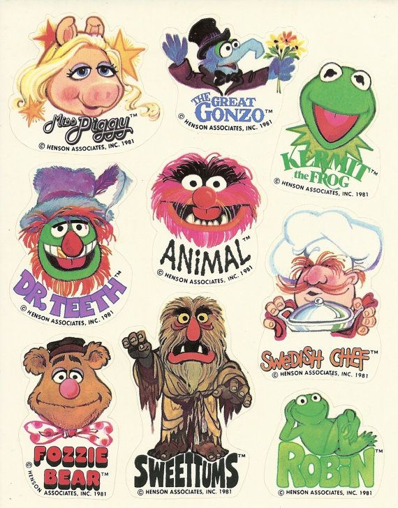 Vintage 1981 Hallmark Muppets Sticker Sheet.  Stickers.  Miss Piggy, The Great Gonzo, Kermit the Frog, Dr. Teeth, Animal, Swedish Chef, Sweetums, Robin, Fozzie Bear.