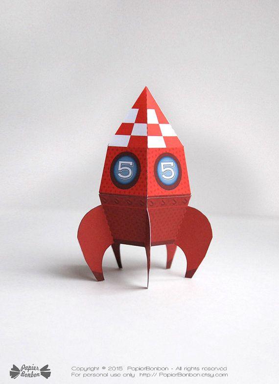 Boîtes fusée personnalisée Printable, fusée paper toy, activité enfant, robots, cadeau fête Espace et cosmonaute, DIY