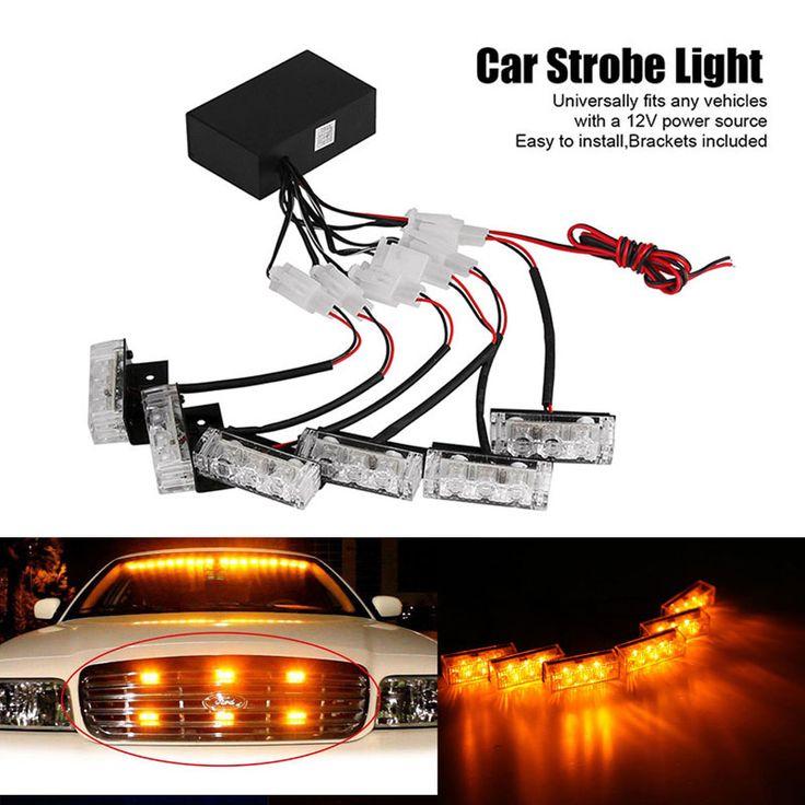 SPEVERT Car Vehicle 18LED Dash Strobe Flashlight Flashing Light Police Warning Light Yellow 12V #Affiliate