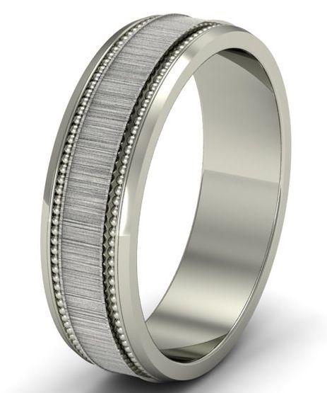 Fancy Diamond Jewellery Men uS Mill Grained Frosted Centre Wedding Ring u Platinum u W