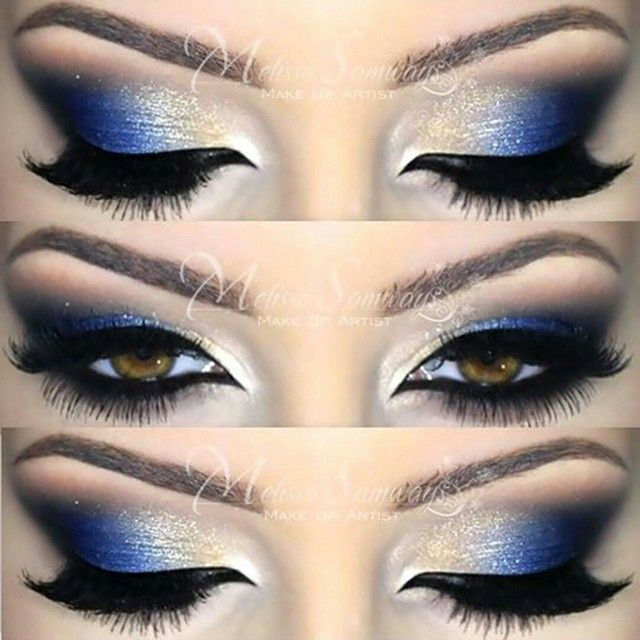 Blue and Gold eyeshadow look