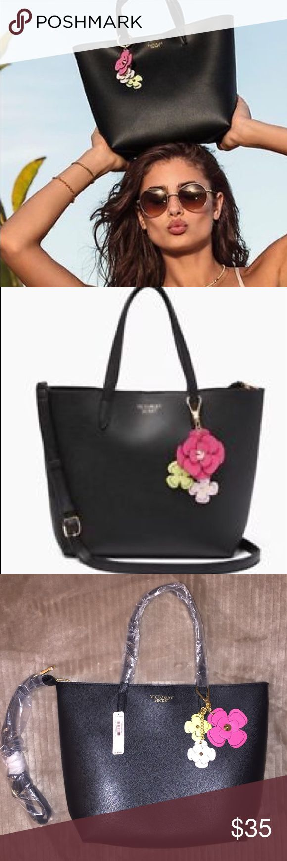 "NWT Victoria Secrets Tease Floral Tote Victoria's Secret tease floral tote bag purse handbag Black bag with floral keychain. 2 shoulder straps and one long adjustable strap. 13.5"" L x 3.75"" W x 9.25"" H. PINK Victoria's Secret Bags Totes"