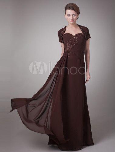 Vestido para la madre de novia de gasa de color marrón de línea A con escote de corazón -No.1