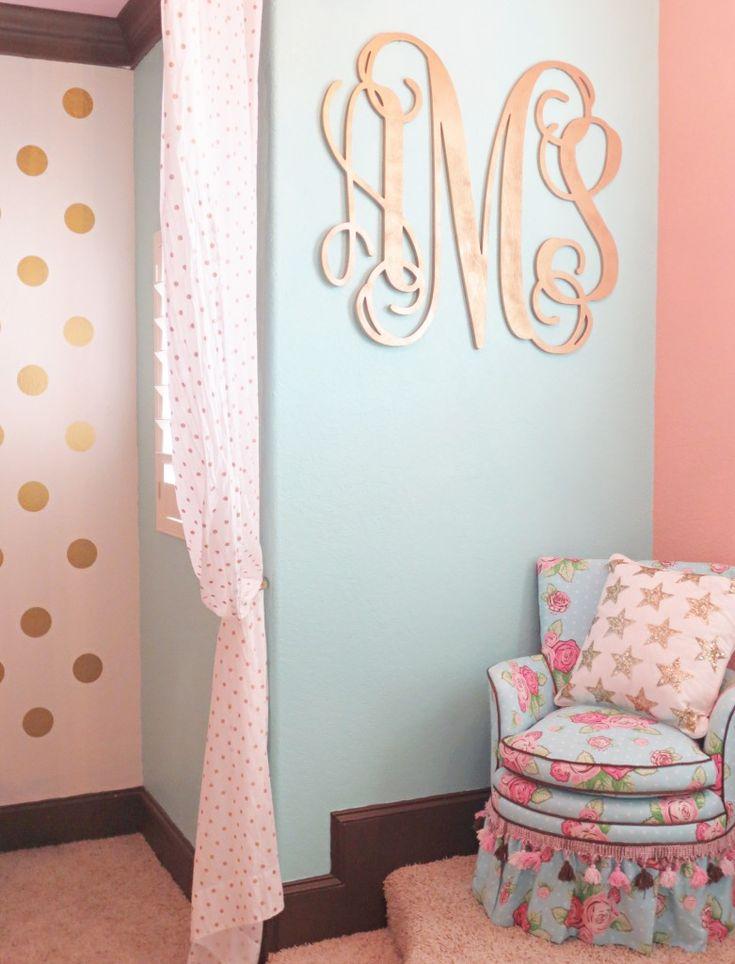 Coral, Mint, and Gold Room Design ‹ Caden LaneCaden Lane - LOVE the huge gold monogram on the mint walls!