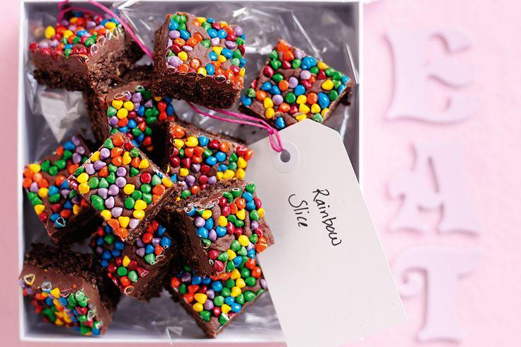 Rainbow slice #chocolate #kids #party http://www.taste.com.au/recipes/26801/rainbow+slice