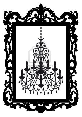 antique picture frame with chandelier, vector Stock Photo - 9034269