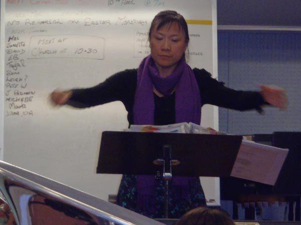 Xiao Xia Jiang, Muscial Director of the Latrobe Federal Band in Tasmania. Article & Photo by Lorraine McNeair.
