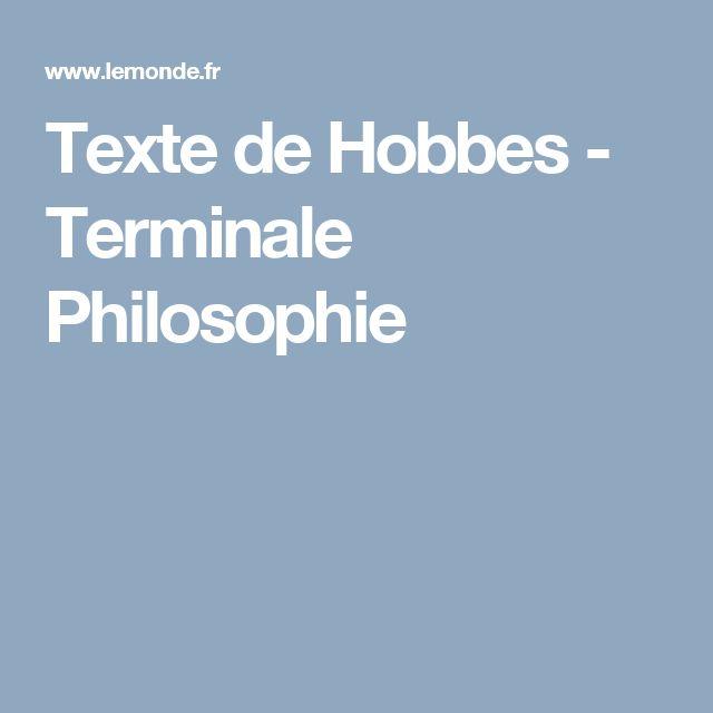 Texte de Hobbes - Terminale Philosophie