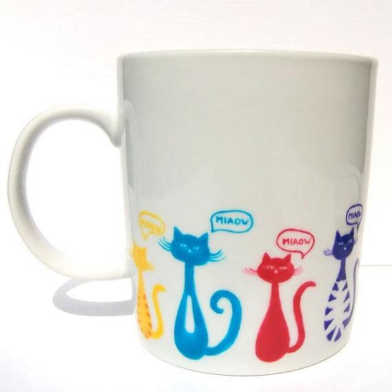 Colourful Cats Mug Large by freespiritdesigns2 on Etsy, £14.00