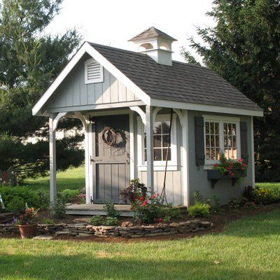 Variation ID: 3149, Variation Spec: 8\' x 14\' 3149, Options pictured: 8\' x 10\' with a 4\' porch, rainy day grey house, white trim, toy soldier grey shutters/flower boxes