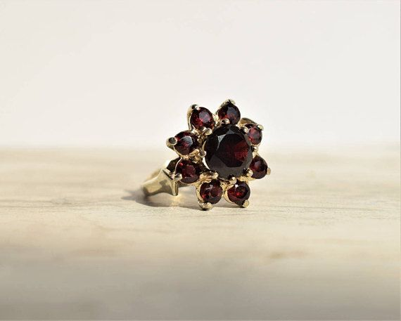 Vintage Daisy Garnet Ring Round Cluster Ring January
