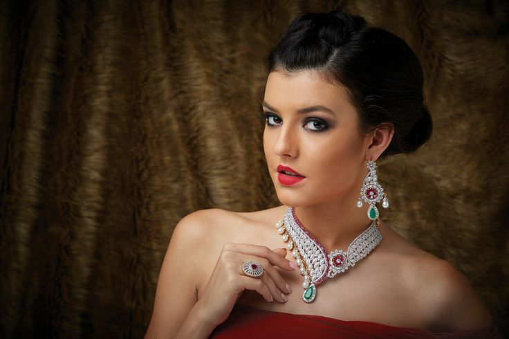 Contemporary design Necklace with Zircon stones in close setting with red and green stones at Kushal's Fashion Jewellery