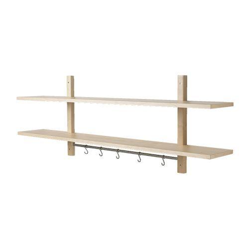 IKEA - VÄRDE, Étagère murale 5 crochets, bouleau, , Rail avec 5 crochets pour suspendre les ustensiles de cuisine ou les torchons.Libère le plan de travail.