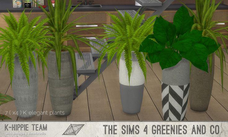 K Elegant Plants I 4 Plants I 3 Sets I by k-hippie via tech-hippie.com I Maxis Match I Sims 4
