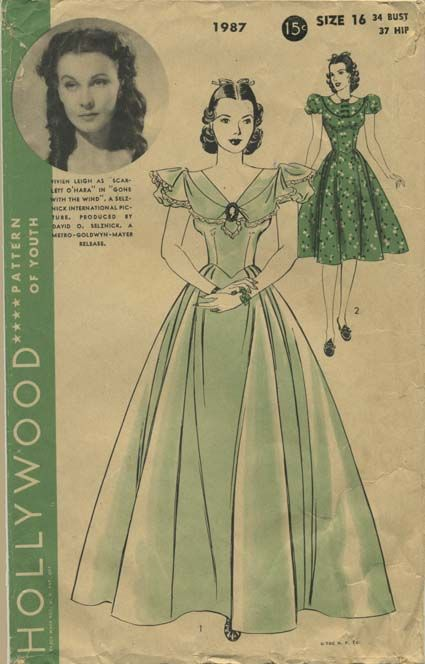 Vintage Sewing Pattern featuring Vivien Leigh as Scarlett O'Hara in Gone With the Wind. A Selznick International Picture. Produced by David O. Selznick. A Metro-Goldwyn-Mayer release.   Hollywood 1987   Year 1939   Bust 34   Waist n/a   Hip 37