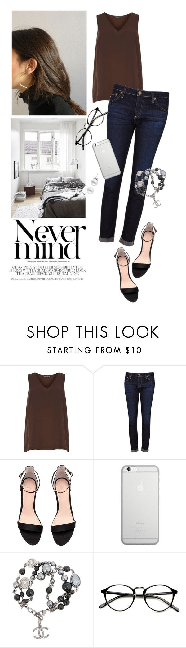 """""""NeverMind"""" by reginakos ❤ liked on Polyvore featuring Dorothy Perkins, AG Adriano Goldschmied, Native Union, Chanel, SimpleOutfits, DenimStyle and 60secondstyle"""