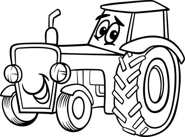 Dibujos Animados De Tractor Para Colorear Libro Páginas Para Colorear Para Niños Tractor Dibujo Páginas Para Colorear