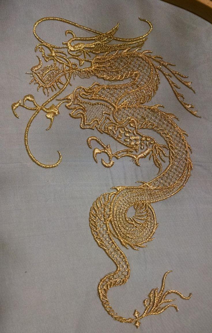 Using gold metallic thread on black organza :) Embroidery, goldwork, dragon