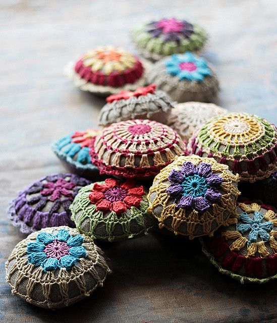 crocheted pincushions. be still my beating heart. now i must learn to crochet!