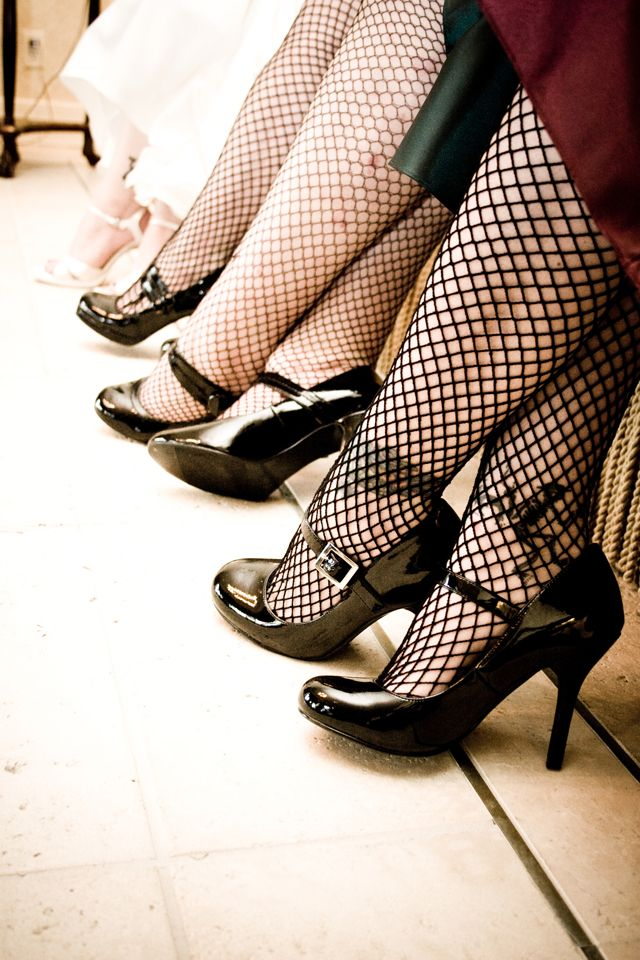 Love these fishnets for a Halloween wedding.