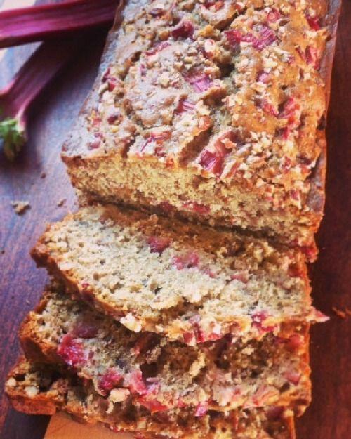 Easy to change ingredients so bread is gluten free and vegan. Sliced Rhubarb Nut Bread