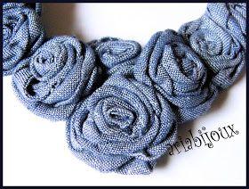 Mi piace molto provare cose nuove e le collane di stoffa stimolavano tanto la mia fantasia .  Qualche pezzetto di jeans reciclato, tanta tan...