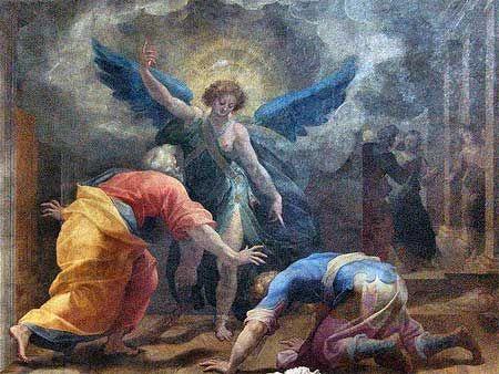 """Cristoforo Roncalli detto il Pomarancio (1552-1626), L'Arcangelo Raffaele e Tobia, Roma, Basilica di Sant'Andrea della Valle, cappella """"Rucellai o dei Beati"""","""
