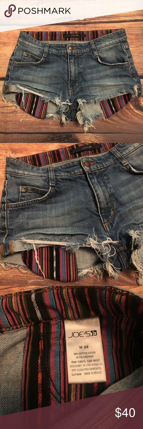 "Joes jeans cut off daisy duke shorts high waist 28 High waist distressed daisy duke shorts with boho pocket designs. Size 28 waist measures 15.5"" across Joe's Jeans Shorts Jean Shorts"